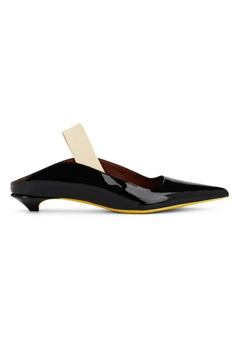 Proenza Schouler Women's Kitten-Heel Patent Leather Slingback Mules