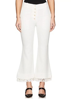 Proenza Schouler Women's Lace-Trimmed Crop Flared Pants