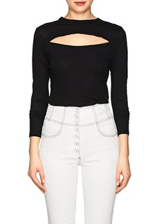 Proenza Schouler Women's Slit-Chest Cotton Jersey Long-Sleeve T-Shirt