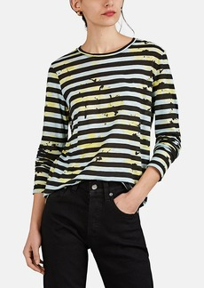 Proenza Schouler Women's Splattered-Floral & Striped Cotton T-Shirt