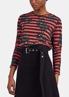 Proenza Schouler Women's Splattered-Floral Striped Cotton Long-Sleeve T-Shirt