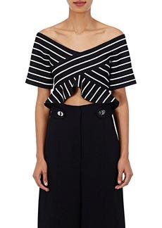 Proenza Schouler Women's Striped Abstract Jacquard Crop Top