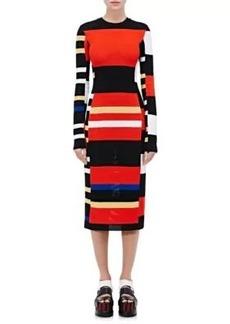 Proenza Schouler Women's Striped Long-Sleeve Crochet Dress