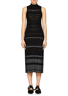 Proenza Schouler Women's Striped Rib-Knit Silk-Blend Midi-Dress