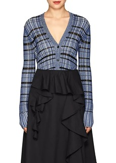 Proenza Schouler Women's Striped Silk-Blend Crop Cardigan