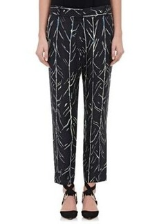 Proenza Schouler Women's Tree-Stem-Print Silk Twill Trousers