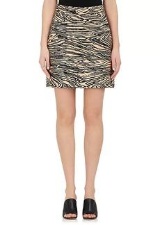 Proenza Schouler Women's Wood-Grain-Motif Faille Miniskirt