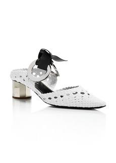 Proenza Schouler Women's Woven Grommet Block Heel Mules