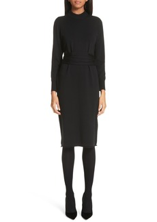 Proenza Schouler Wrap Waist Merino Wool Blend Sweater Dress