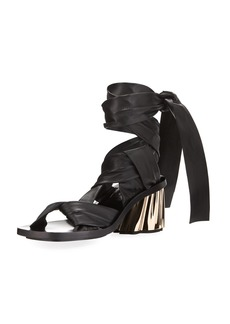 Proenza Schouler XMM Leather Ankle-Wrap Sandals
