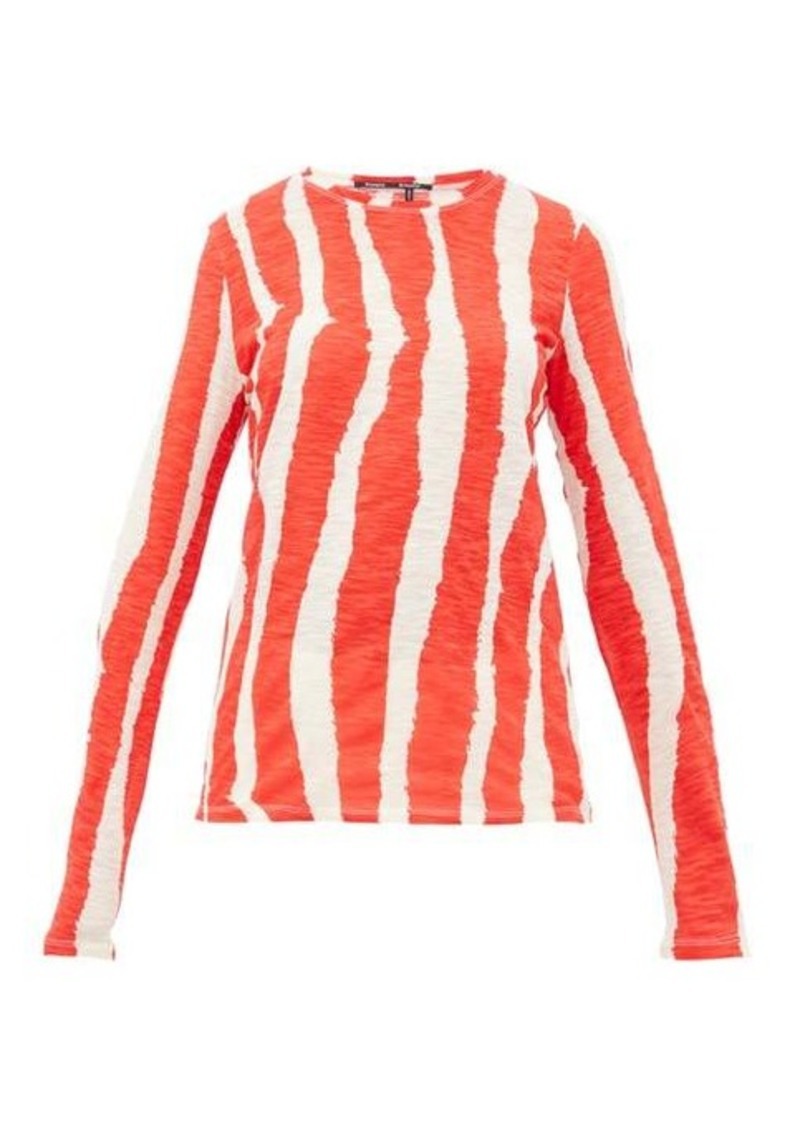 Proenza Schouler Zebra-print cotton long-sleeved T-shirt