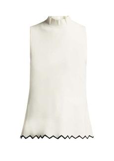 Proenza Schouler Zigzag-hem high-neck cady top