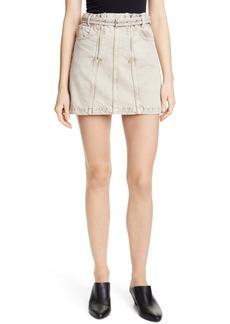 Proenza Schouler Zip Front Belted Denim Miniskirt