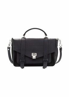 Proenza Schouler PS1+ Medium Leather Satchel Bag  Black