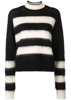 Proenza Schouler PSWL Brushed Stripe Wool Mohair Cropped Sweater
