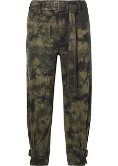 Proenza Schouler Pswl Cropped Tie-dyed Stretch-cotton Twill Tapered Pants
