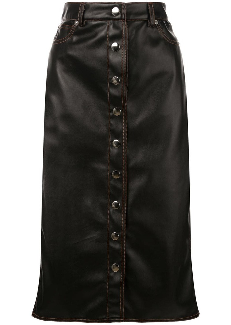 Proenza Schouler PSWL Faux Leather Button Front Midi Skirt