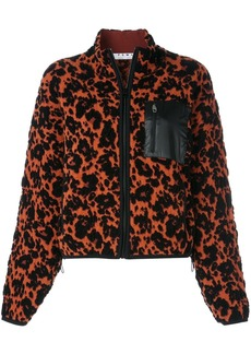 Proenza Schouler PSWL Leopard Bubble Jacquard Cropped Bomber Jacket