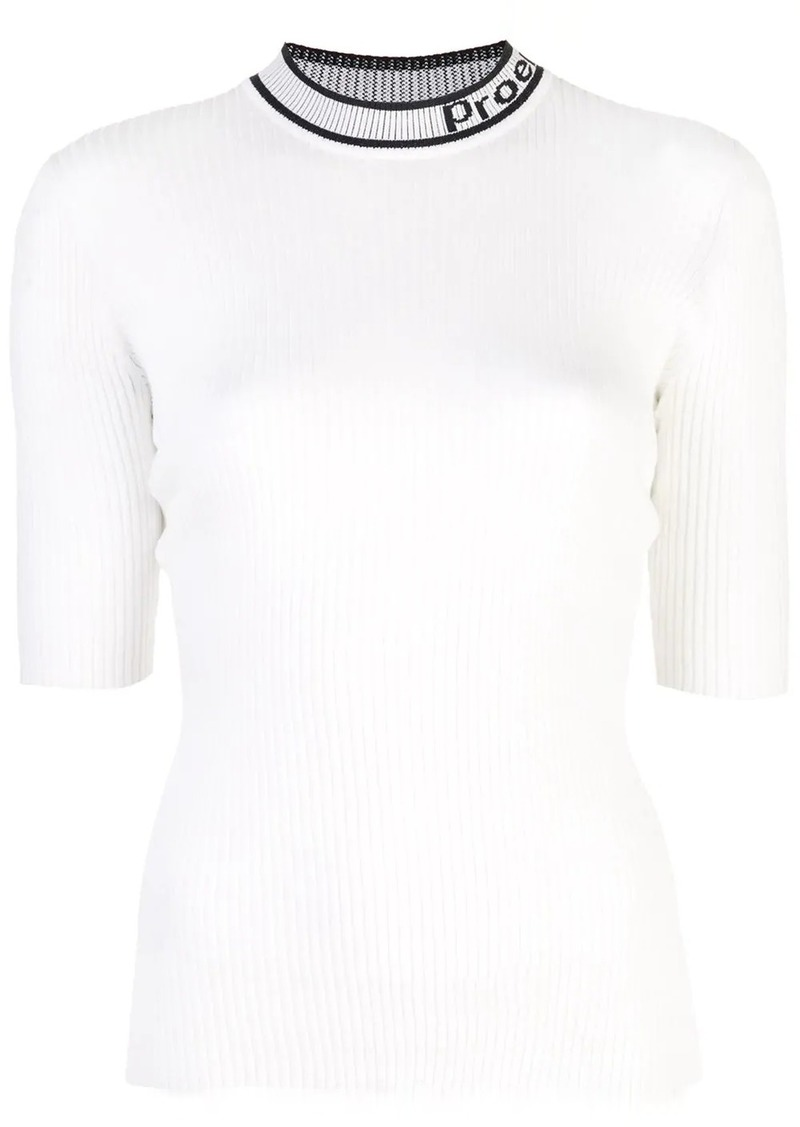Proenza Schouler PSWL Logo Knit Short Sleeve Crewneck Top