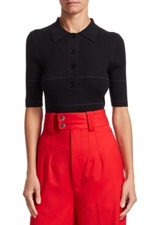 Proenza Schouler Rib-Knit Collared Silk & Cashmere Blend Sweater