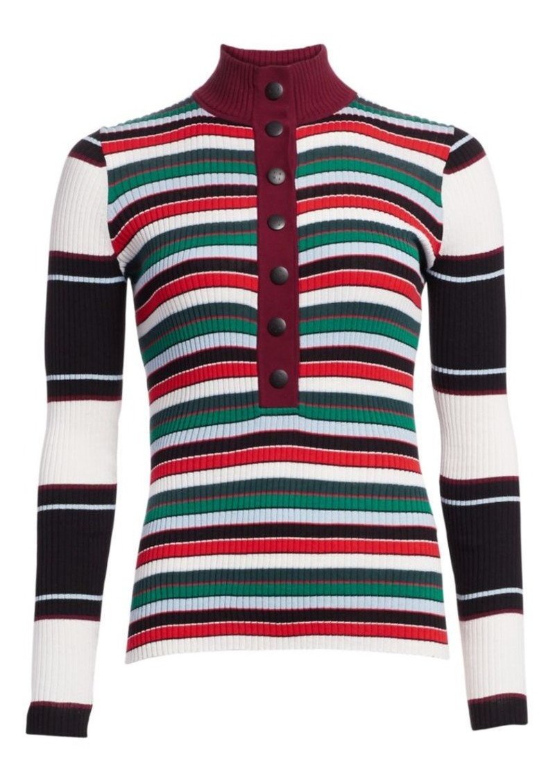 Proenza Schouler Ribbed Rugby Striped Turtleneck Sweater