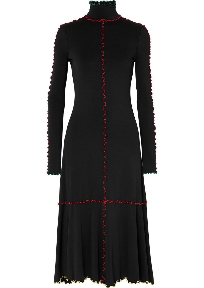 Proenza Schouler Ruffle-trimmed Stretch-knit Midi Dress