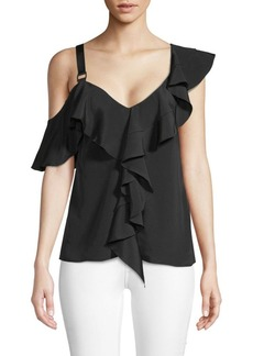 Proenza Schouler Ruffled Cold-Shoulder Silk Top