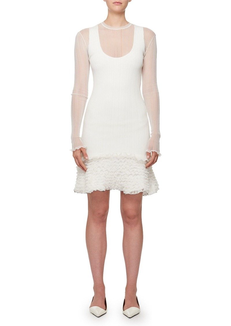 Proenza Schouler Sheer Rib Pucker-Knit Ruffled-Hem Mini Dress