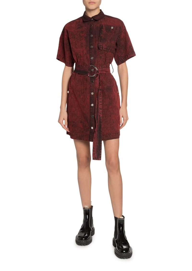Proenza Schouler Short-Sleeve Belted Snap-Front Shirt Dress