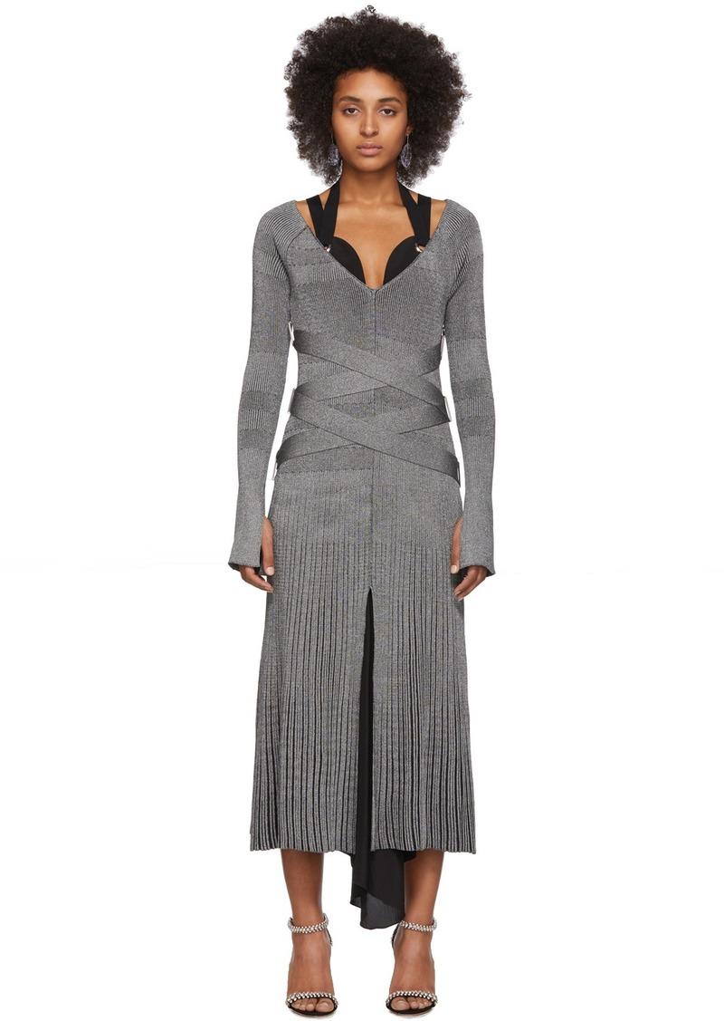 Proenza Schouler Silver Silk Knit Long Sleeve Dress