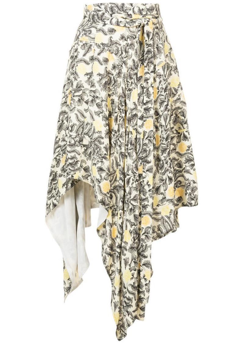 Proenza Schouler Paisley Floral Asymmetrical Skirt