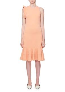 Proenza Schouler Sleeveless High-Neck Peplum-Hem Fitted Knit Dress