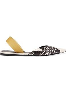 Proenza Schouler Snake-effect Leather Slingback Flats