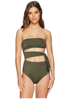 Proenza Schouler Solids One-Piece Bandeau w/ Side Tie