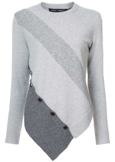 Proenza Schouler Spiral Button Sweater with Asymmetrical Hem