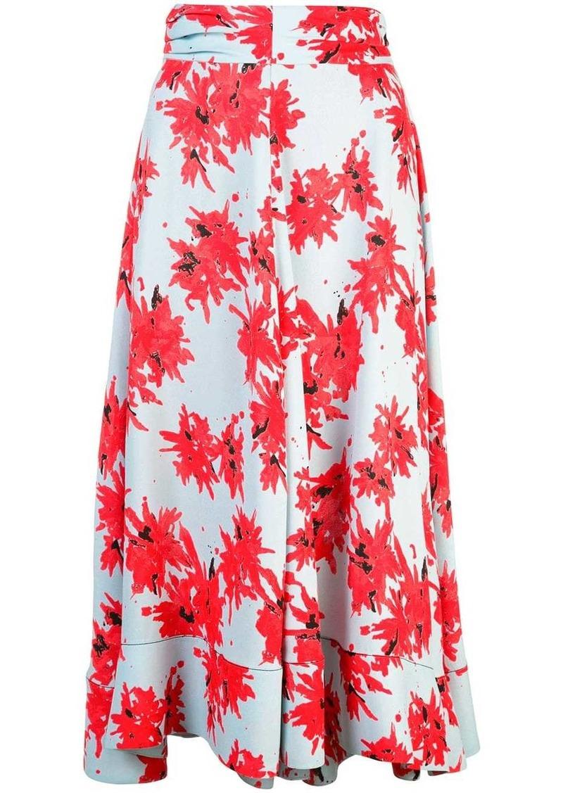 Proenza Schouler Splatter Floral Seamed Skirt