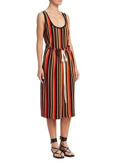Proenza Schouler Stripe Tie-Waist Knit Midi Tank Dress