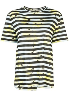 Proenza Schouler Striped Floral Splatter Short Sleeve T-Shirt