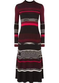 Proenza Schouler Striped Ribbed Wool, Silk And Cashmere-blend Dress