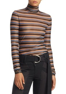 Proenza Schouler Striped Sheer Turtleneck Sweater