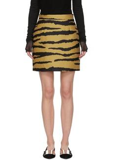 Proenza Schouler Tan & Black Tiger Jacquard Miniskirt