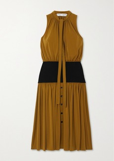Proenza Schouler Tie-detailed Crepe And Stretch-jersey Midi Dress