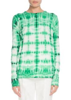 Proenza Schouler Tie-dye Crewneck Long-Sleeve Cotton T-Shirt