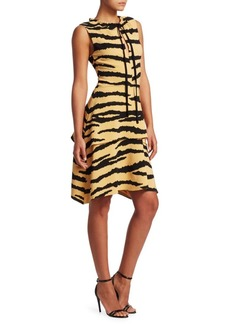 Proenza Schouler Tiger-Print Tiered Drawstring Dress