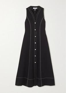Proenza Schouler Topstitched Cutout Piqué Midi Dress