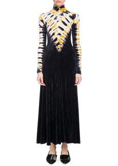 Proenza Schouler Turtleneck Long-Sleeve Degrade Velvet Long Dress