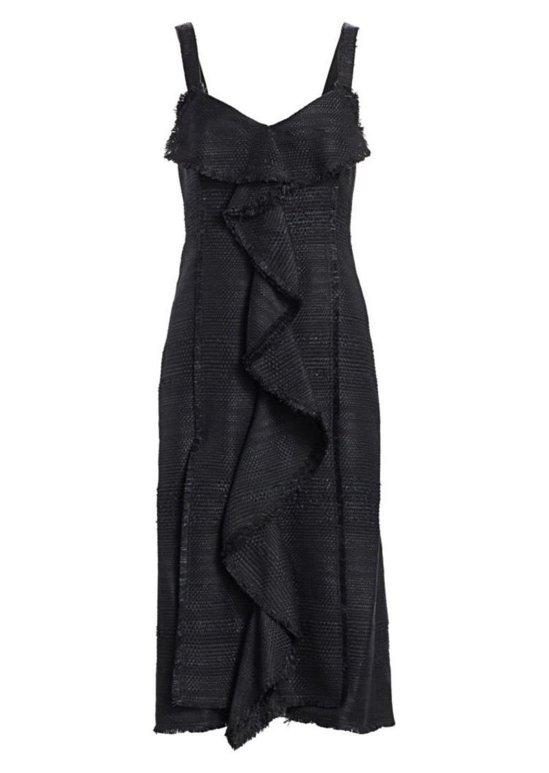 Proenza Schouler Tweed Ruffle Midi Dress