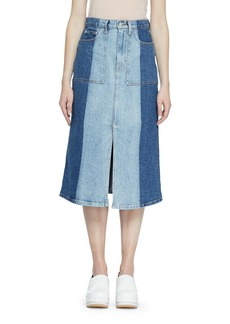 Proenza Schouler Two Tone Denim Midi Skirt