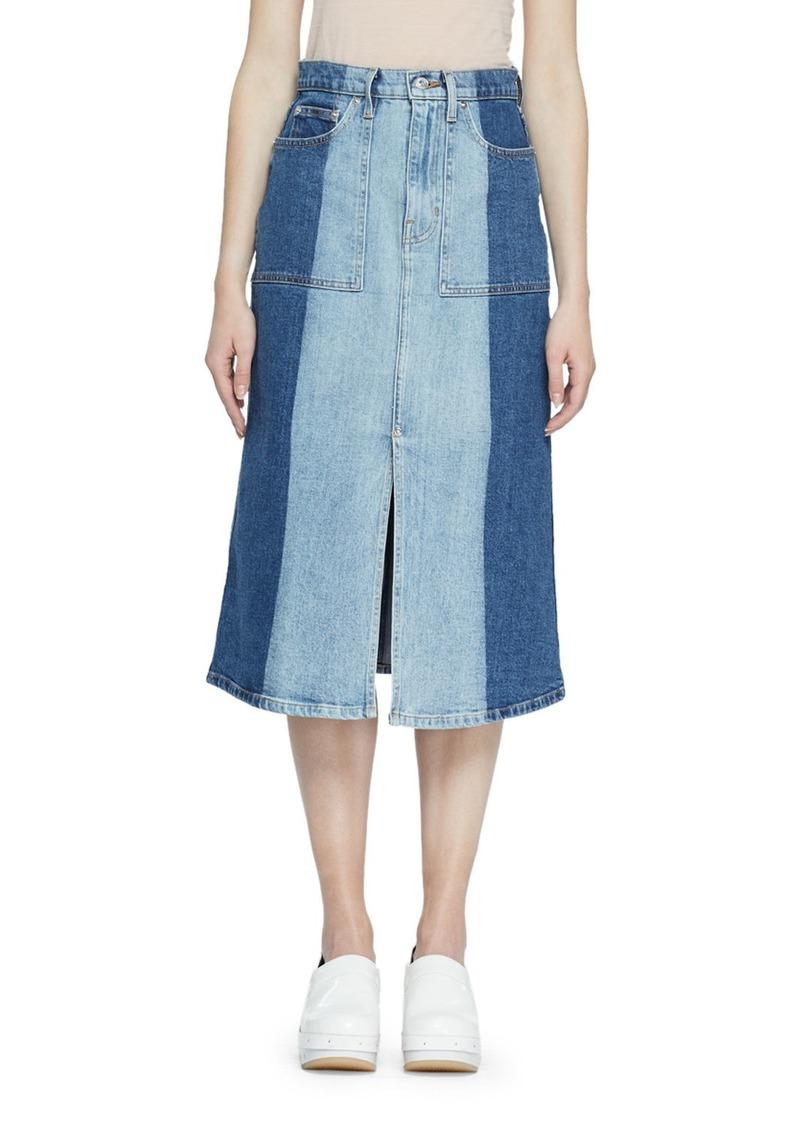 Proenza Schouler Two Tone Denim Midi Skirt
