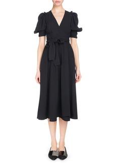 Proenza Schouler V-Neck Short-Sleeve Wrap Textured Crepe Dress
